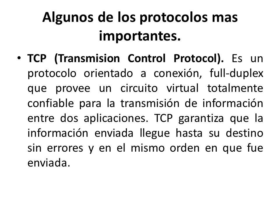 Algunos de los protocolos mas importantes. TCP (Transmision Control Protocol). Es un protocolo orientado a conexión, full-duplex que provee un circuit