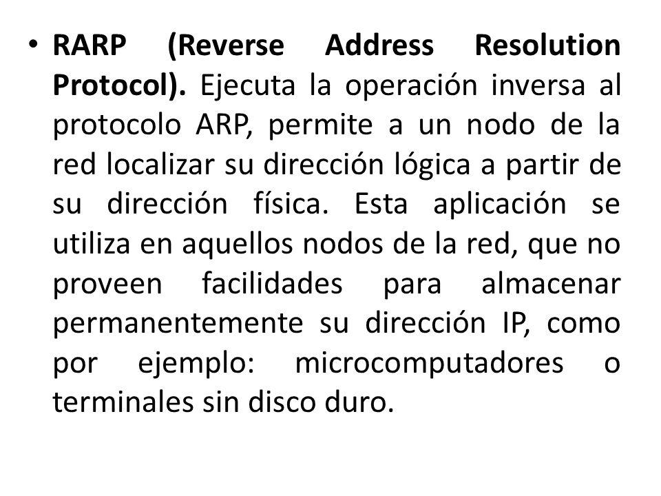 RARP (Reverse Address Resolution Protocol). Ejecuta la operación inversa al protocolo ARP, permite a un nodo de la red localizar su dirección lógica a