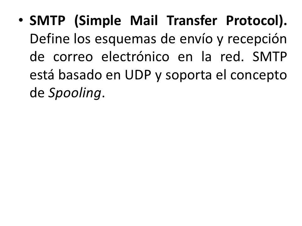 SMTP (Simple Mail Transfer Protocol). Define los esquemas de envío y recepción de correo electrónico en la red. SMTP está basado en UDP y soporta el c