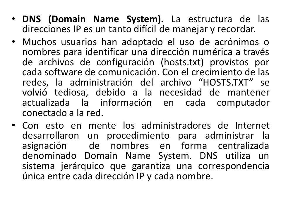 DNS (Domain Name System). La estructura de las direcciones IP es un tanto difícil de manejar y recordar. Muchos usuarios han adoptado el uso de acróni