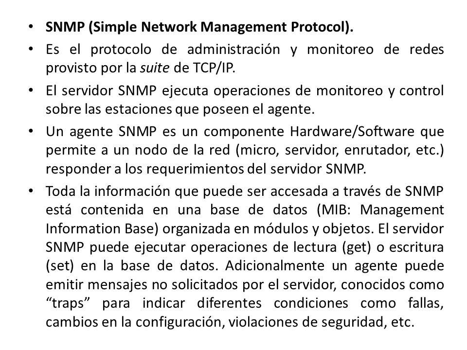 SNMP (Simple Network Management Protocol). Es el protocolo de administración y monitoreo de redes provisto por la suite de TCP/IP. El servidor SNMP ej