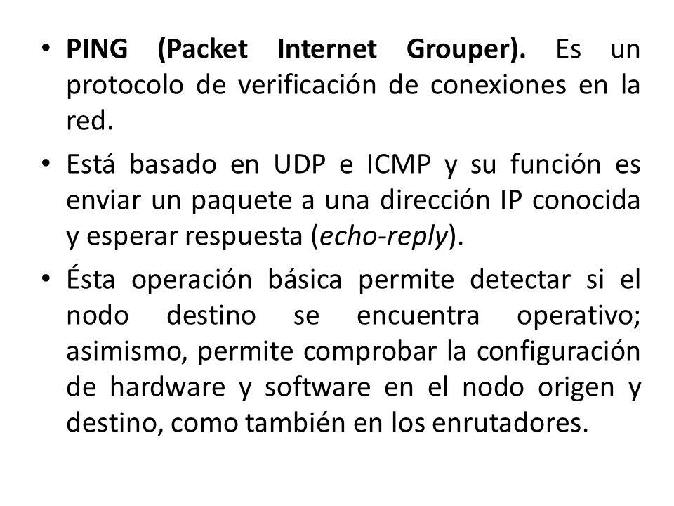 PING (Packet Internet Grouper). Es un protocolo de verificación de conexiones en la red. Está basado en UDP e ICMP y su función es enviar un paquete a