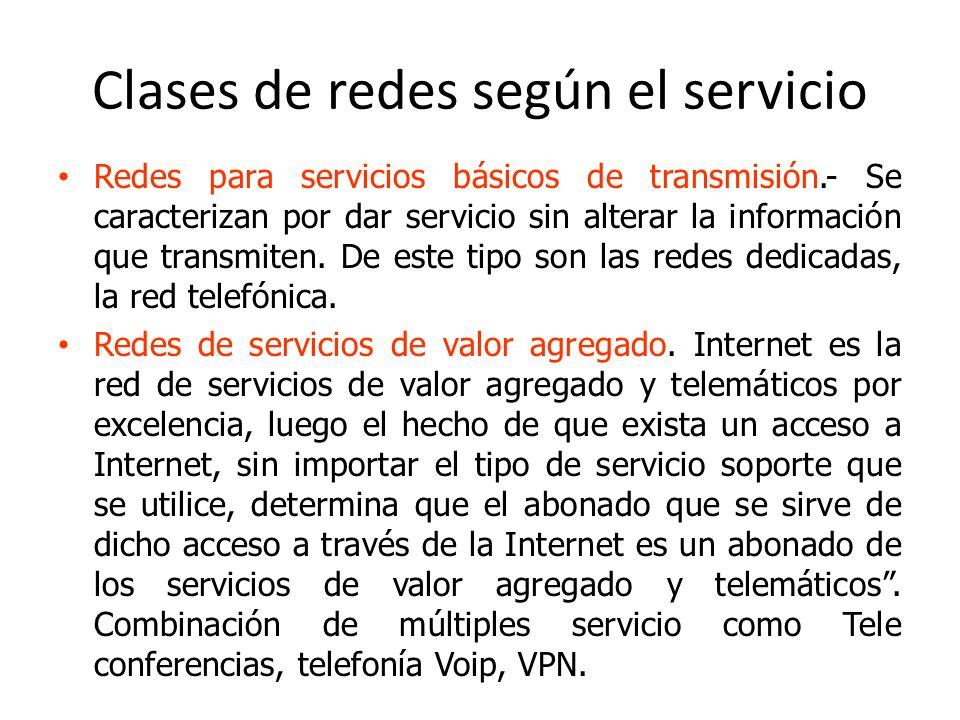 Clases de redes según el servicio Redes para servicios básicos de transmisión.- Se caracterizan por dar servicio sin alterar la información que transm