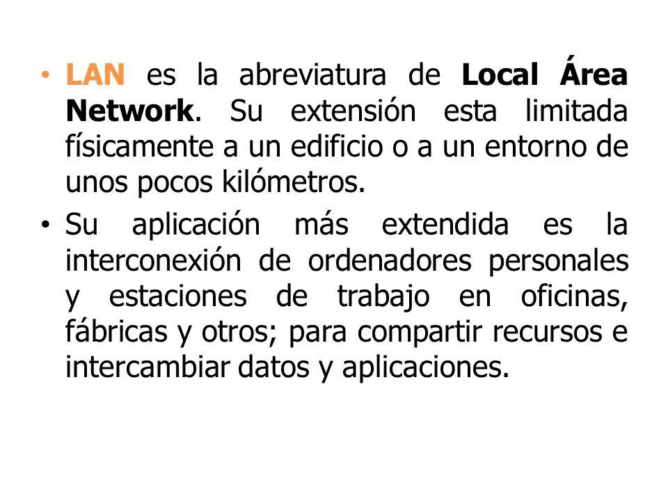 LAN es la abreviatura de Local Área Network. Su extensión esta limitada físicamente a un edificio o a un entorno de unos pocos kilómetros. Su aplicaci