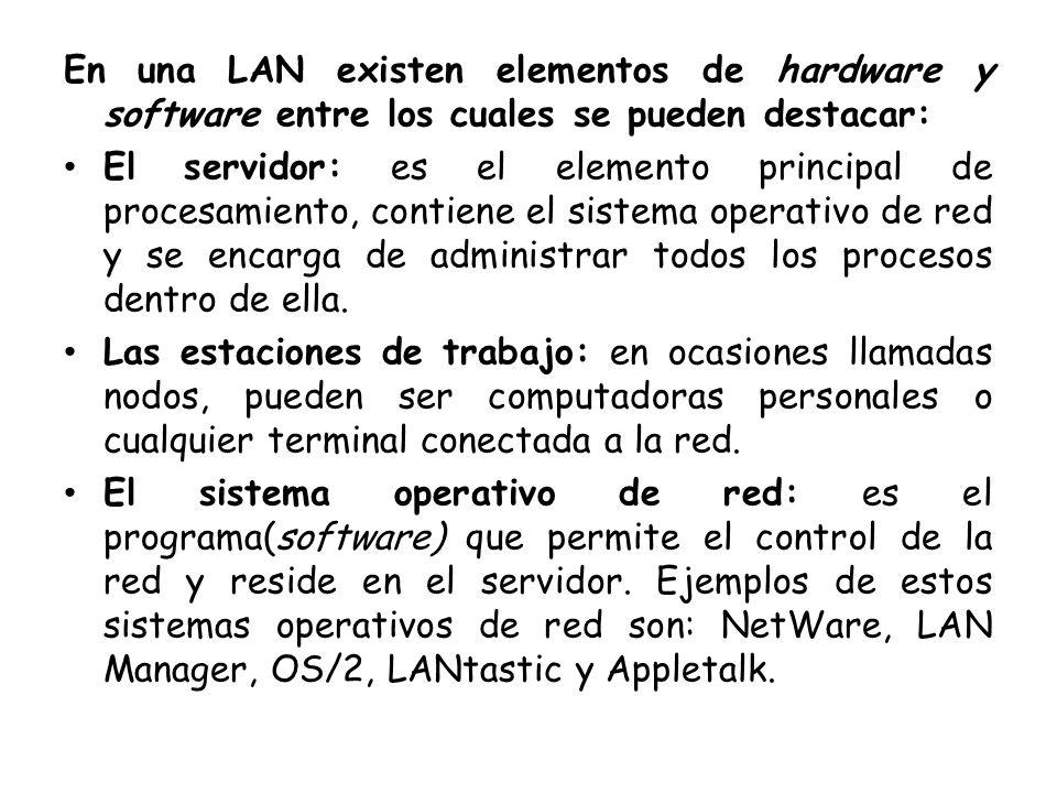 En una LAN existen elementos de hardware y software entre los cuales se pueden destacar: El servidor: es el elemento principal de procesamiento, conti