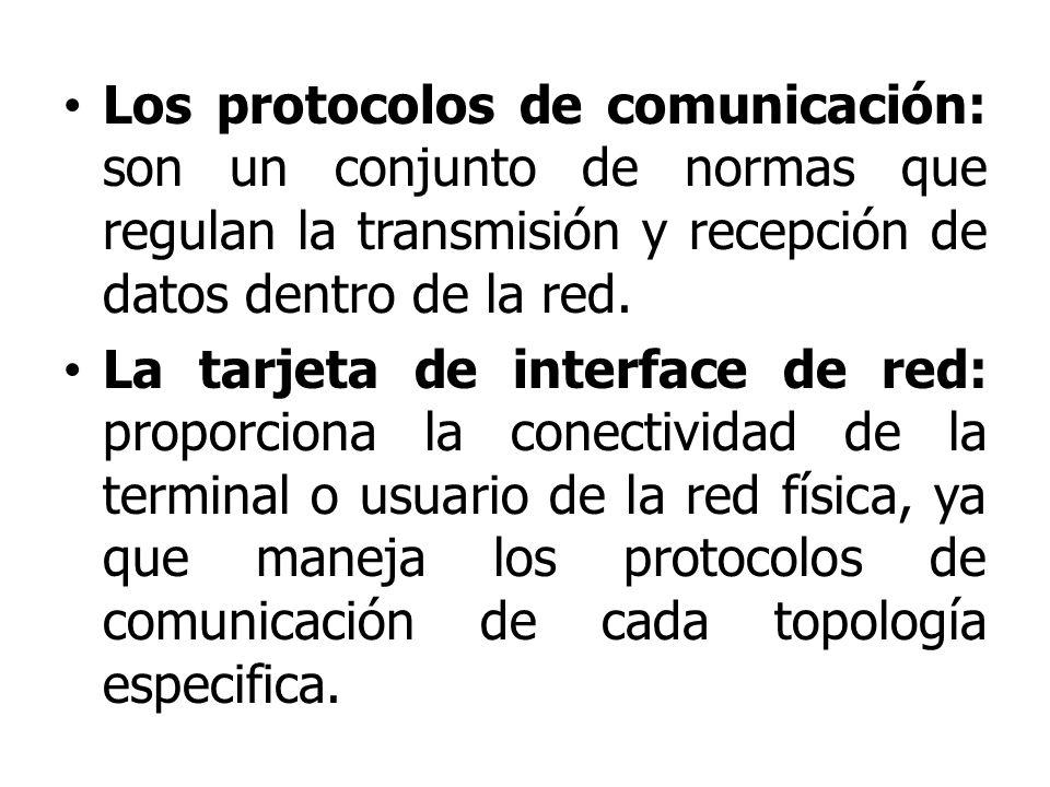 Los protocolos de comunicación: son un conjunto de normas que regulan la transmisión y recepción de datos dentro de la red. La tarjeta de interface de