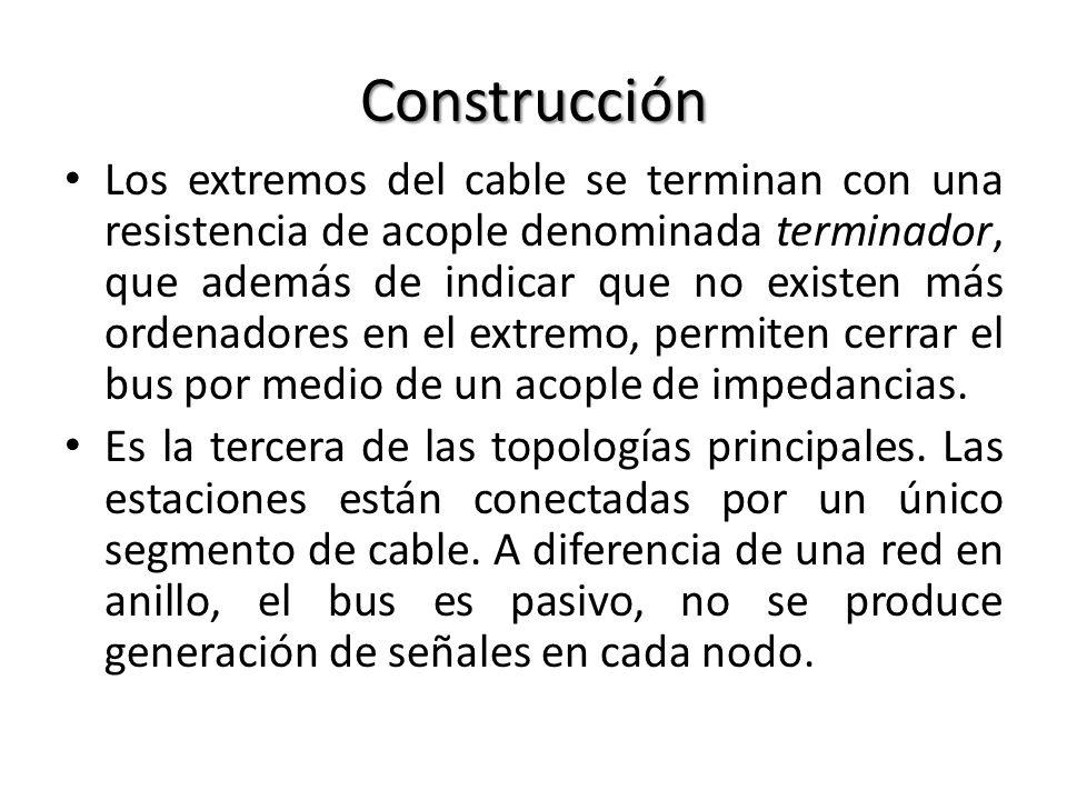 Construcción Los extremos del cable se terminan con una resistencia de acople denominada terminador, que además de indicar que no existen más ordenado