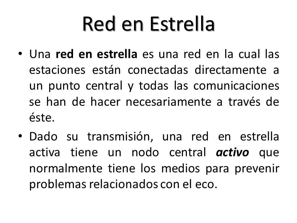 Red en Estrella Una red en estrella es una red en la cual las estaciones están conectadas directamente a un punto central y todas las comunicaciones s