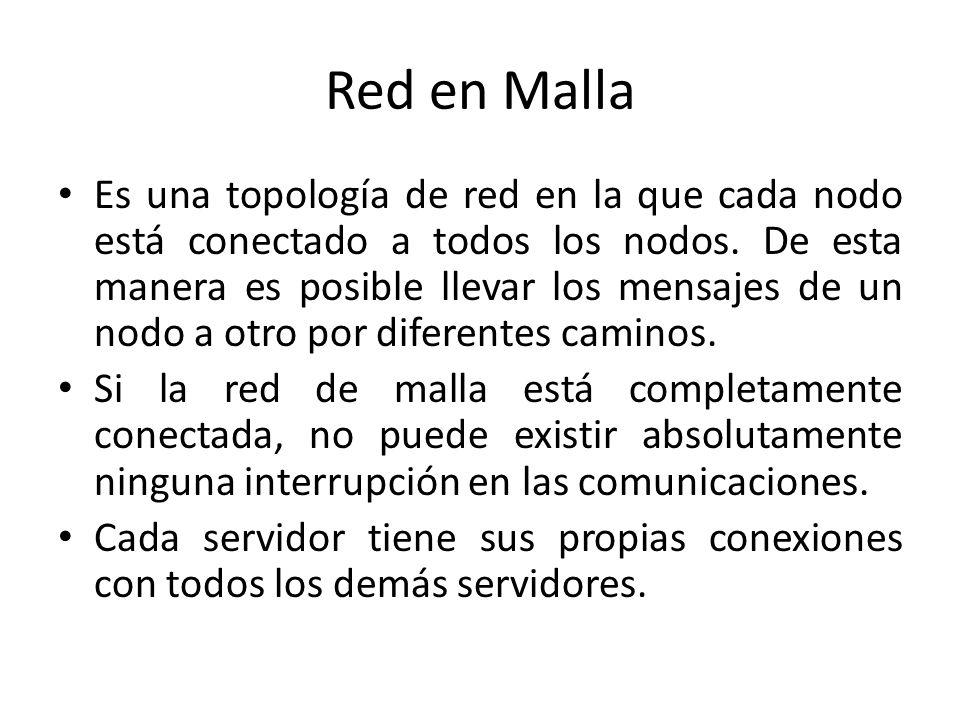 Red en Malla Es una topología de red en la que cada nodo está conectado a todos los nodos. De esta manera es posible llevar los mensajes de un nodo a