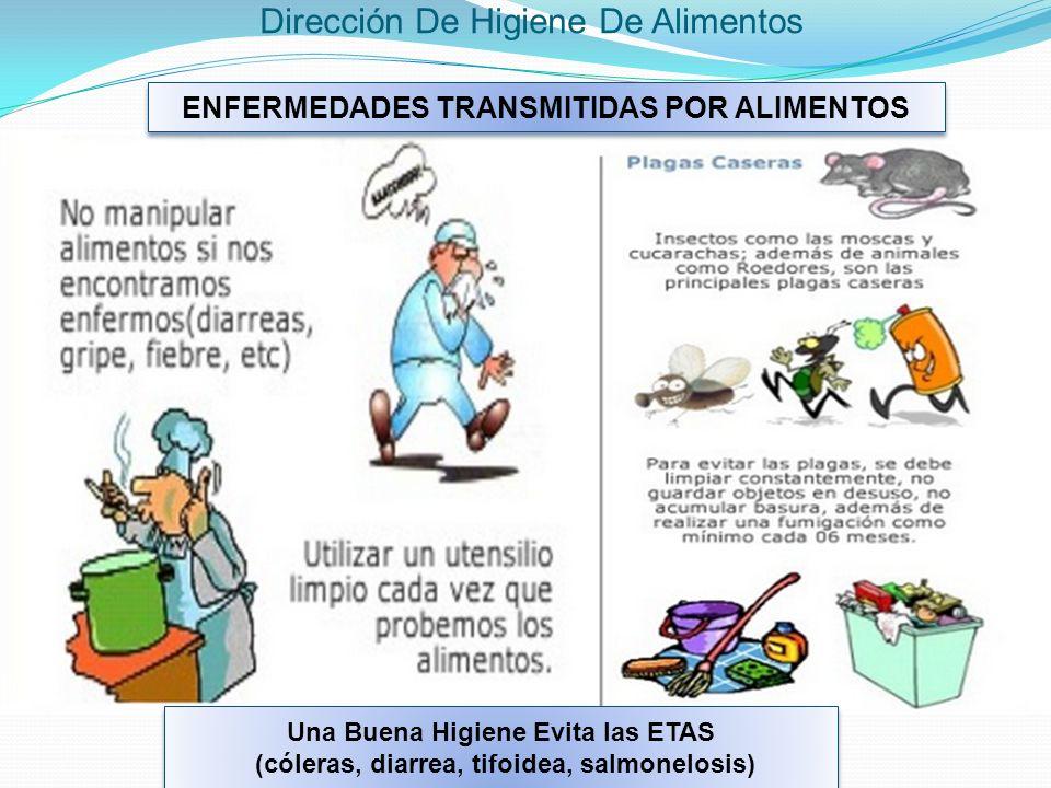 ENFERMEDADES TRANSMITIDAS POR ALIMENTOS Una Buena Higiene Evita las ETAS (cóleras, diarrea, tifoidea, salmonelosis) Una Buena Higiene Evita las ETAS (