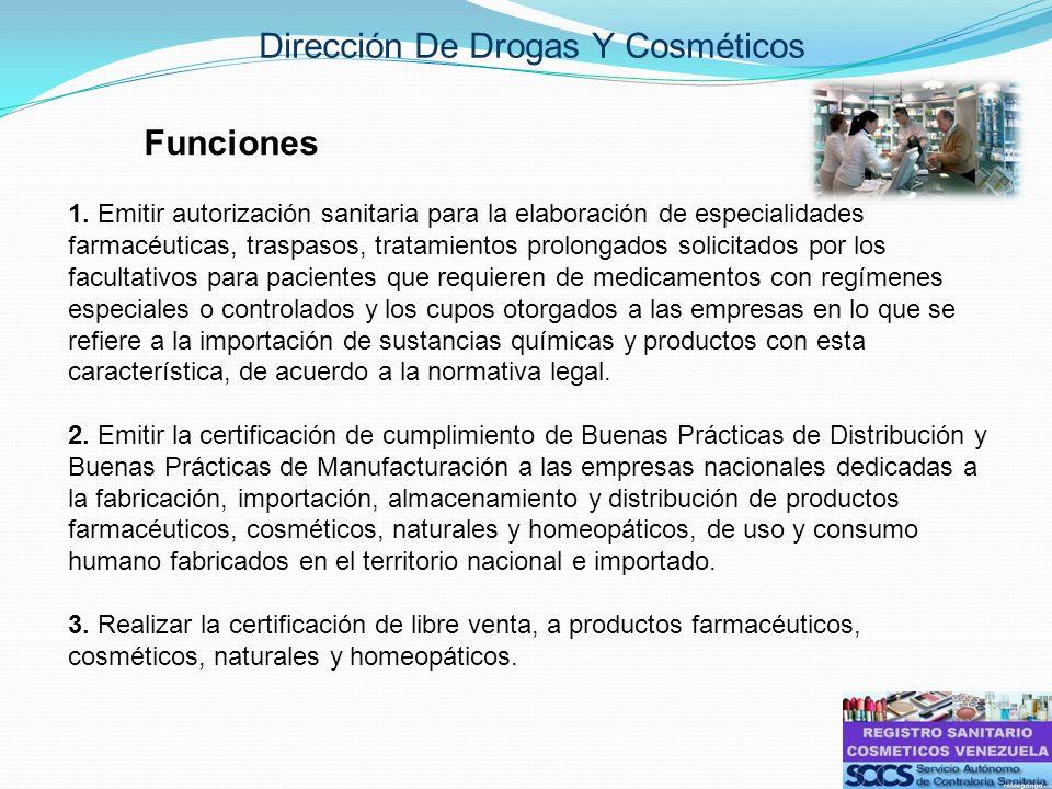 Dirección De Drogas Y Cosméticos Funciones 1. Emitir autorización sanitaria para la elaboración de especialidades farmacéuticas, traspasos, tratamient