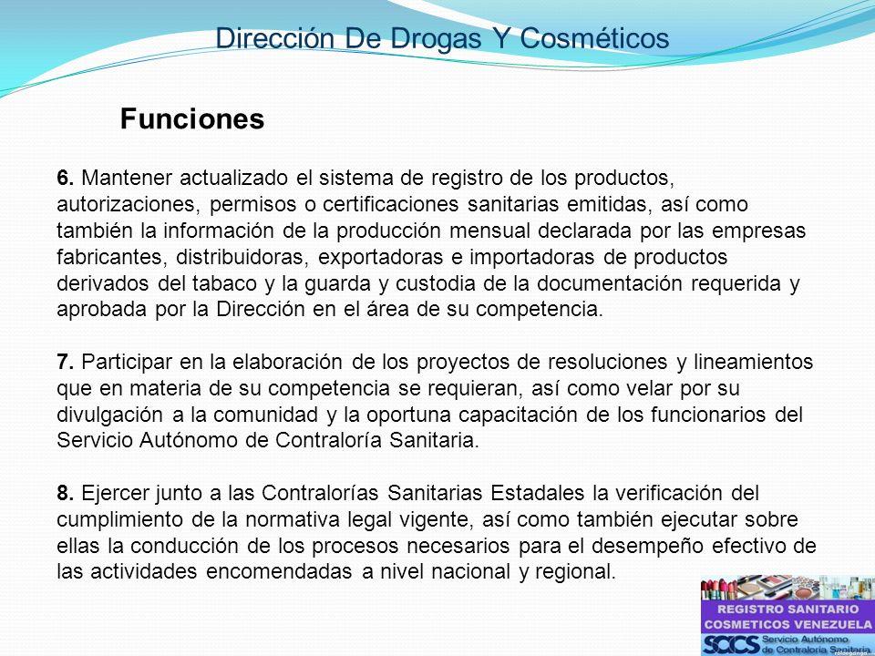 Dirección De Drogas Y Cosméticos Funciones 6. Mantener actualizado el sistema de registro de los productos, autorizaciones, permisos o certificaciones