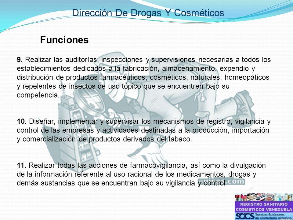 Dirección De Drogas Y Cosméticos Funciones 9. Realizar las auditorías, inspecciones y supervisiones necesarias a todos los establecimientos dedicados