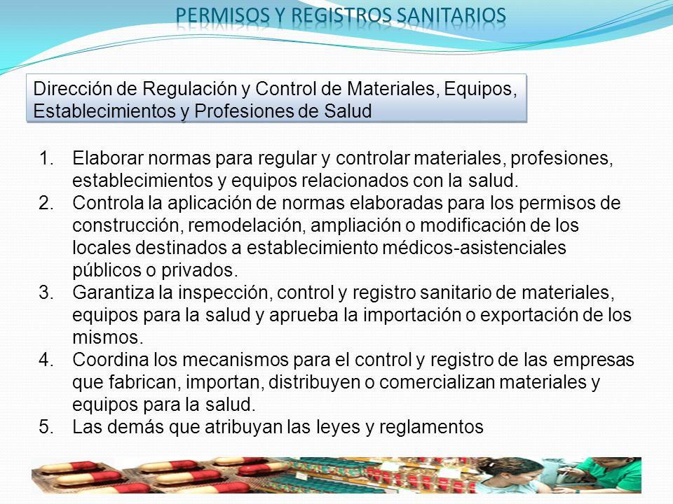 1.Elaborar normas para regular y controlar materiales, profesiones, establecimientos y equipos relacionados con la salud. 2.Controla la aplicación de