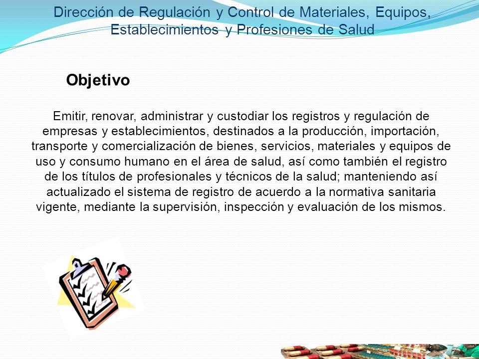 Objetivo Emitir, renovar, administrar y custodiar los registros y regulación de empresas y establecimientos, destinados a la producción, importación,