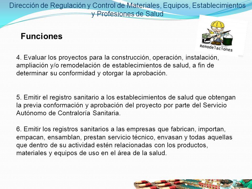 Dirección de Regulación y Control de Materiales, Equipos, Establecimientos y Profesiones de Salud Funciones 4. Evaluar los proyectos para la construcc