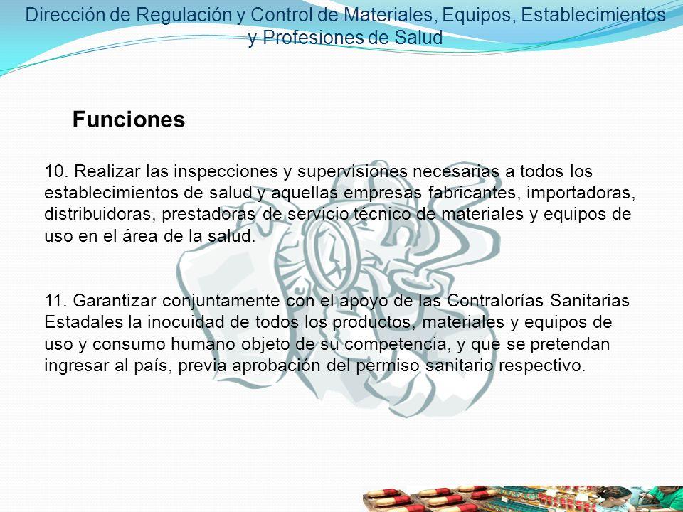 Dirección de Regulación y Control de Materiales, Equipos, Establecimientos y Profesiones de Salud Funciones 10. Realizar las inspecciones y supervisio
