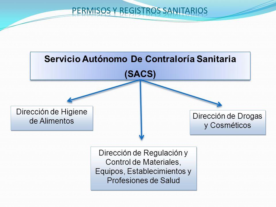 Servicio Autónomo De Contraloría Sanitaria (SACS) Servicio Autónomo De Contraloría Sanitaria (SACS) Dirección de Higiene de Alimentos Dirección de Reg