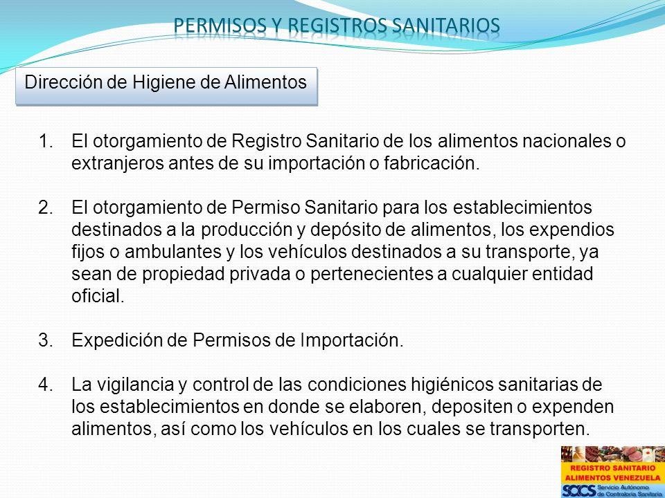 1.El otorgamiento de Registro Sanitario de los alimentos nacionales o extranjeros antes de su importación o fabricación. 2.El otorgamiento de Permiso