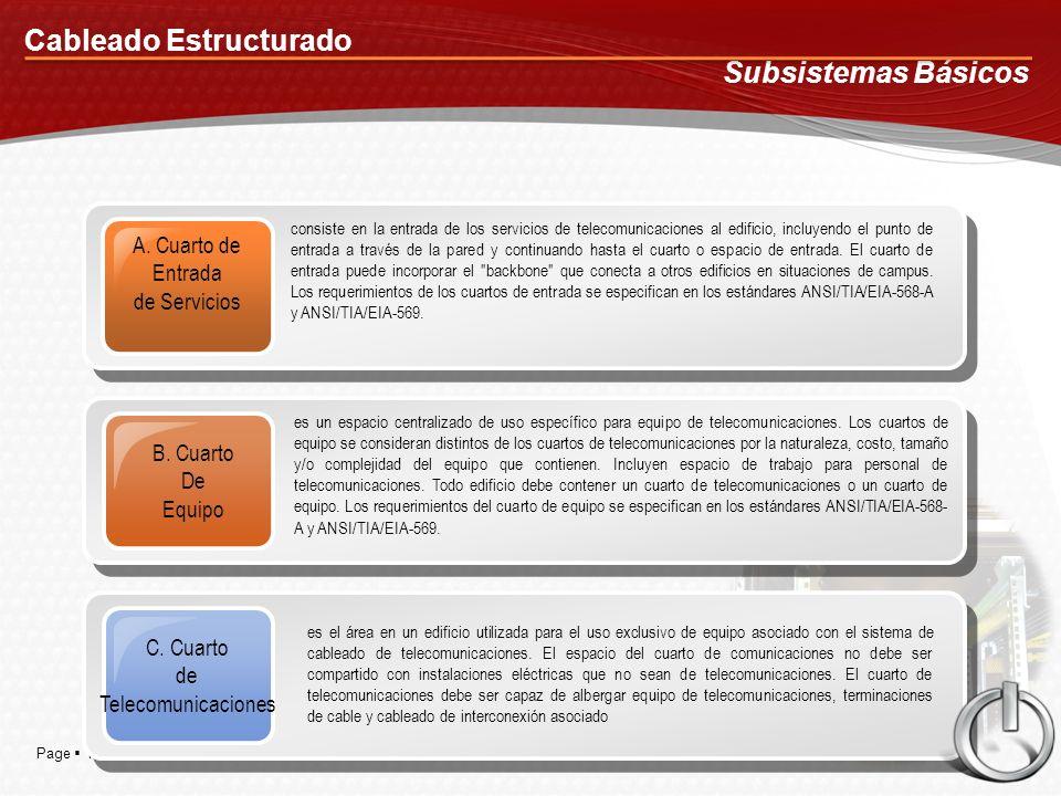 Page 11 Cableado Estructurado Subsistemas Básicos A. Cuarto de Entrada de Servicios consiste en la entrada de los servicios de telecomunicaciones al e