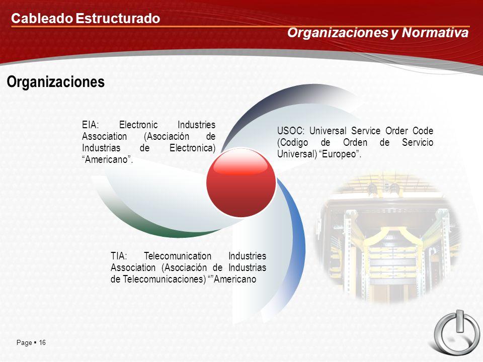 Page 16 Cableado Estructurado Organizaciones y Normativa Organizaciones EIA: Electronic Industries Association (Asociación de Industrias de Electronica) Americano.