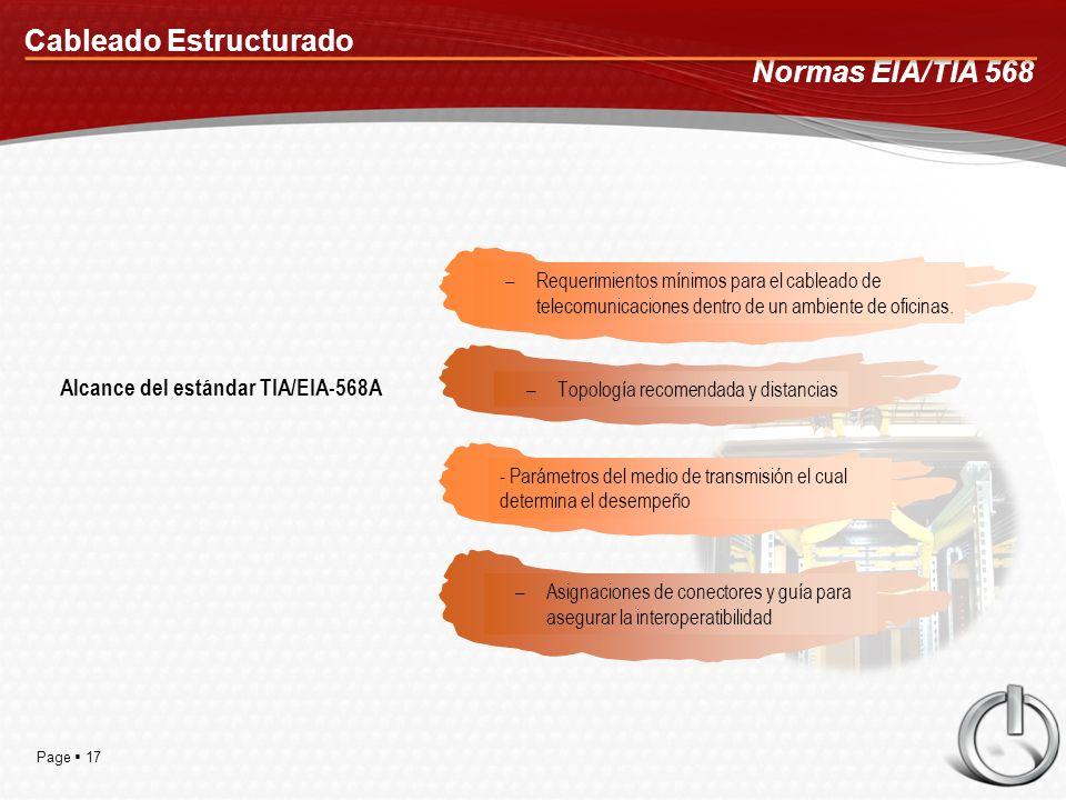 Page 17 Cableado Estructurado Normas EIA/TIA 568 –Requerimientos mínimos para el cableado de telecomunicaciones dentro de un ambiente de oficinas. –To