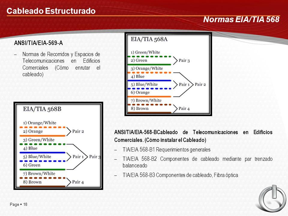 Page 18 Cableado Estructurado ANSI/TIA/EIA-569-A –Normas de Recorridos y Espacios de Telecomunicaciones en Edificios Comerciales (Cómo enrutar el cableado) Normas EIA/TIA 568 ANSI/TIA/EIA-568-BCableado de Telecomunicaciones en Edificios Comerciales.