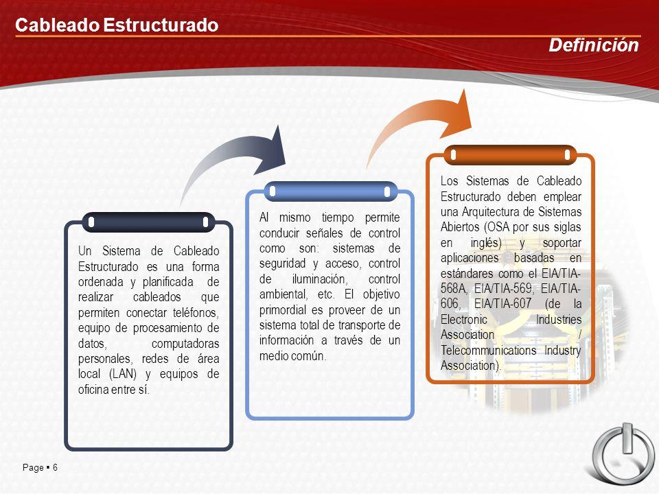 Page 6 Cableado Estructurado Definición Un Sistema de Cableado Estructurado es una forma ordenada y planificada de realizar cableados que permiten conectar teléfonos, equipo de procesamiento de datos, computadoras personales, redes de área local (LAN) y equipos de oficina entre sí.