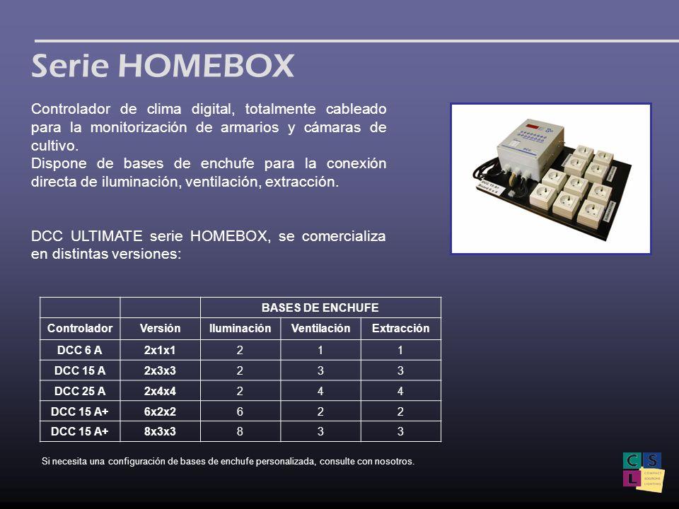 Serie HOMEBOX Controlador de clima digital, totalmente cableado para la monitorización de armarios y cámaras de cultivo. Dispone de bases de enchufe p