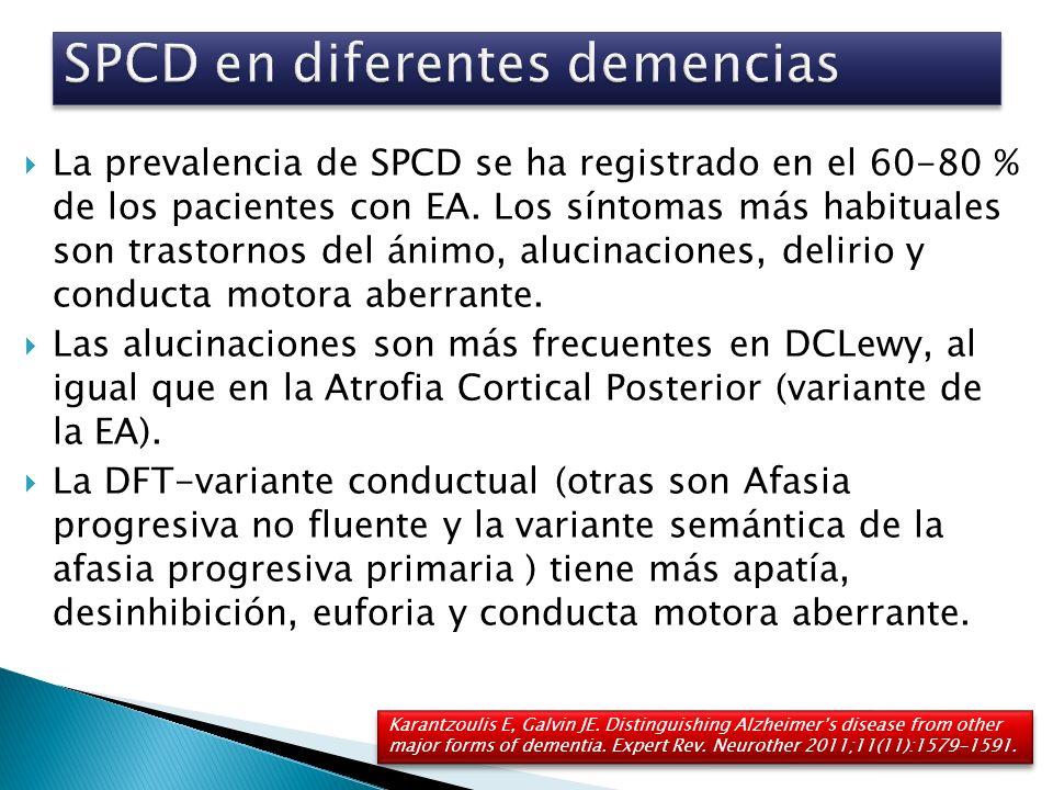 La prevalencia de SPCD se ha registrado en el 60-80 % de los pacientes con EA. Los síntomas más habituales son trastornos del ánimo, alucinaciones, de