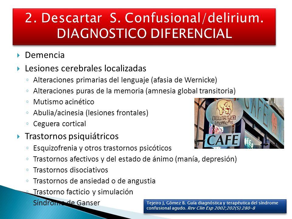 Demencia Lesiones cerebrales localizadas Alteraciones primarias del lenguaje (afasia de Wernicke) Alteraciones puras de la memoria (amnesia global tra