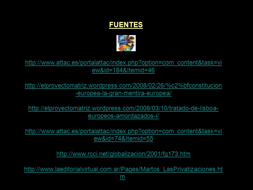 FUENTES http://alvrosda.blogspot.com/2008/10/ms-economia.html http://www.sindinero.org/blog/archives/category/trueque/bancos-de- tiempo/ http://es.wik