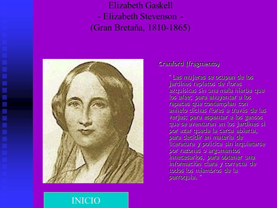 Elizabeth Gaskell - Elizabeth Stevenson - (Gran Bretaña, 1810-1865) Cranford (fragmento)