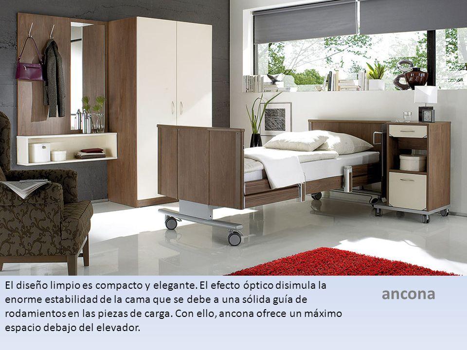El diseño limpio es compacto y elegante. El efecto óptico disimula la enorme estabilidad de la cama que se debe a una sólida guía de rodamientos en la