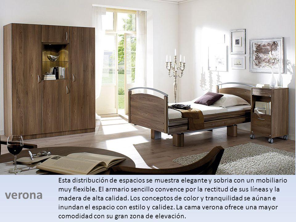 verona Esta distribución de espacios se muestra elegante y sobria con un mobiliario muy flexible. El armario sencillo convence por la rectitud de sus