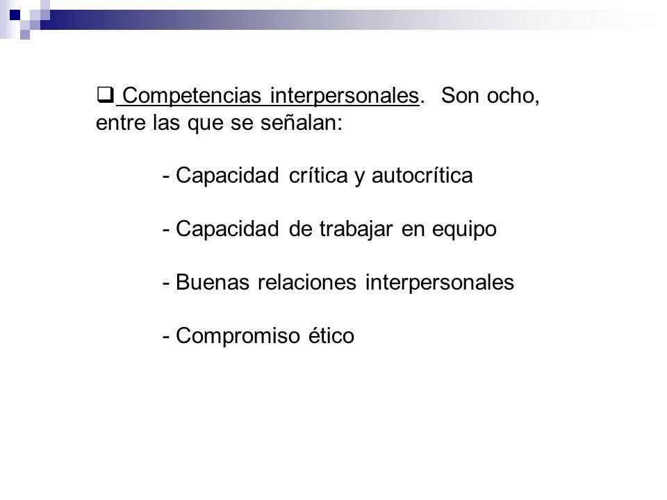 Competencias interpersonales. Son ocho, entre las que se señalan: - Capacidad crítica y autocrítica - Capacidad de trabajar en equipo - Buenas relacio