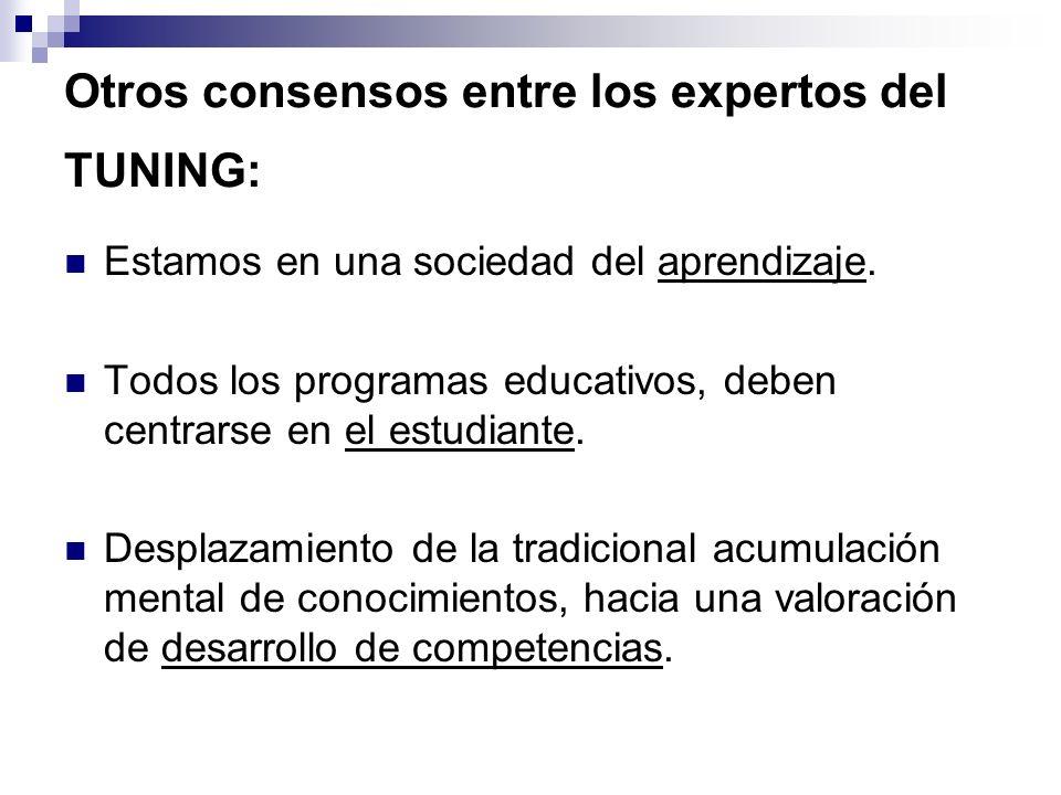 Otros consensos entre los expertos del TUNING: Estamos en una sociedad del aprendizaje. Todos los programas educativos, deben centrarse en el estudian