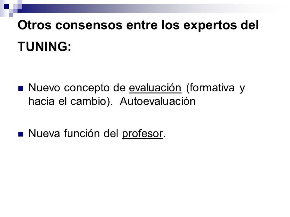 Otros consensos entre los expertos del TUNING: Nuevo concepto de evaluación (formativa y hacia el cambio). Autoevaluación Nueva función del profesor.