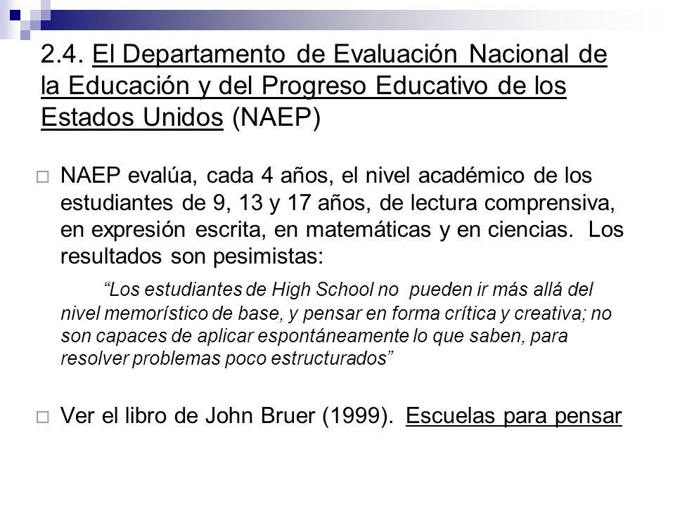 2.4. El Departamento de Evaluación Nacional de la Educación y del Progreso Educativo de los Estados Unidos (NAEP) NAEP evalúa, cada 4 años, el nivel a