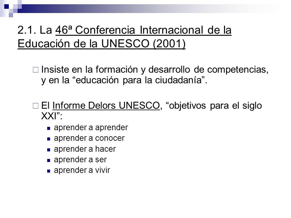 2.1. La 46ª Conferencia Internacional de la Educación de la UNESCO (2001) Insiste en la formación y desarrollo de competencias, y en la educación para