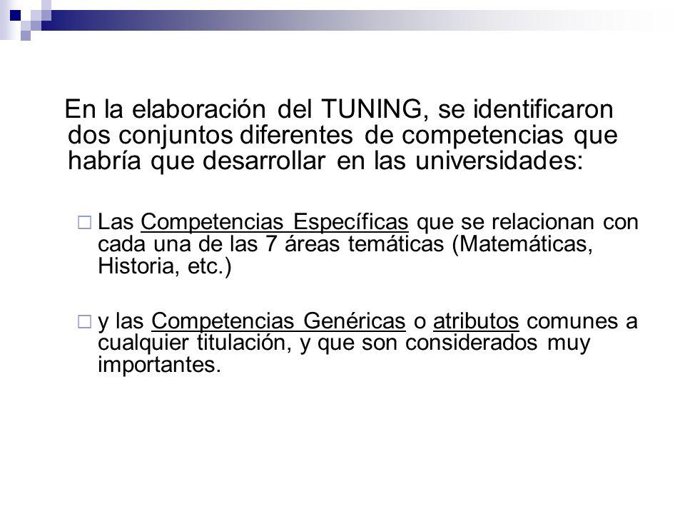 En la elaboración del TUNING, se identificaron dos conjuntos diferentes de competencias que habría que desarrollar en las universidades: Las Competenc
