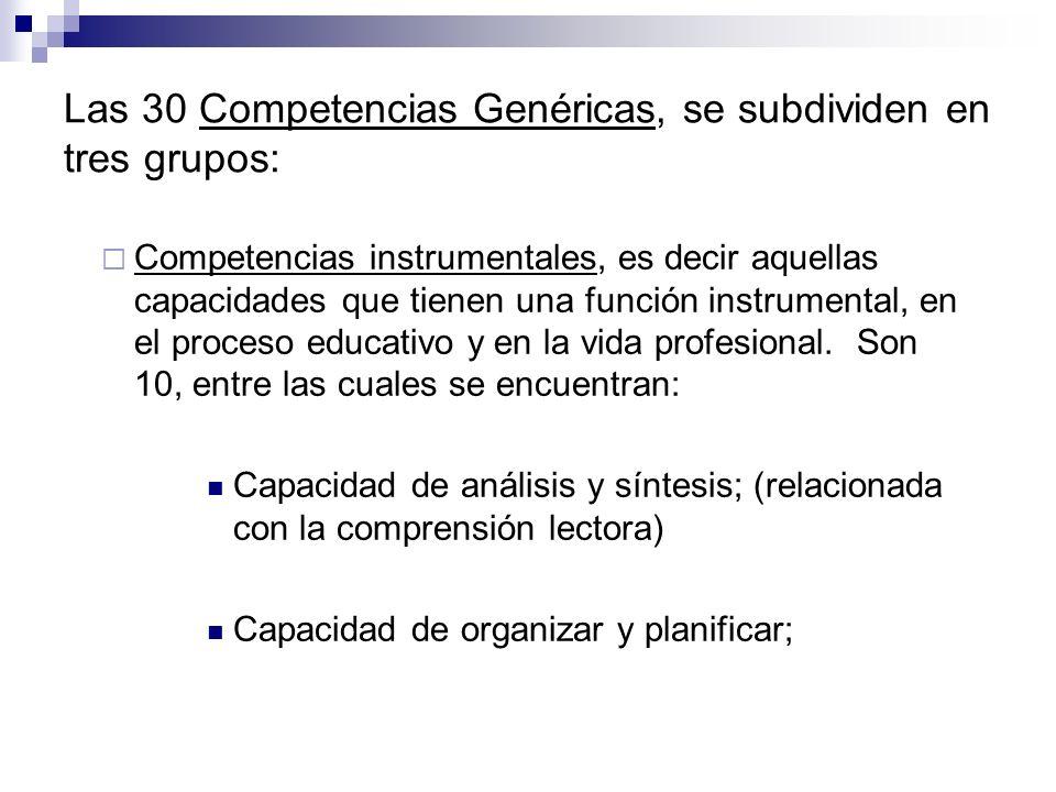 Las 30 Competencias Genéricas, se subdividen en tres grupos: Competencias instrumentales, es decir aquellas capacidades que tienen una función instrum