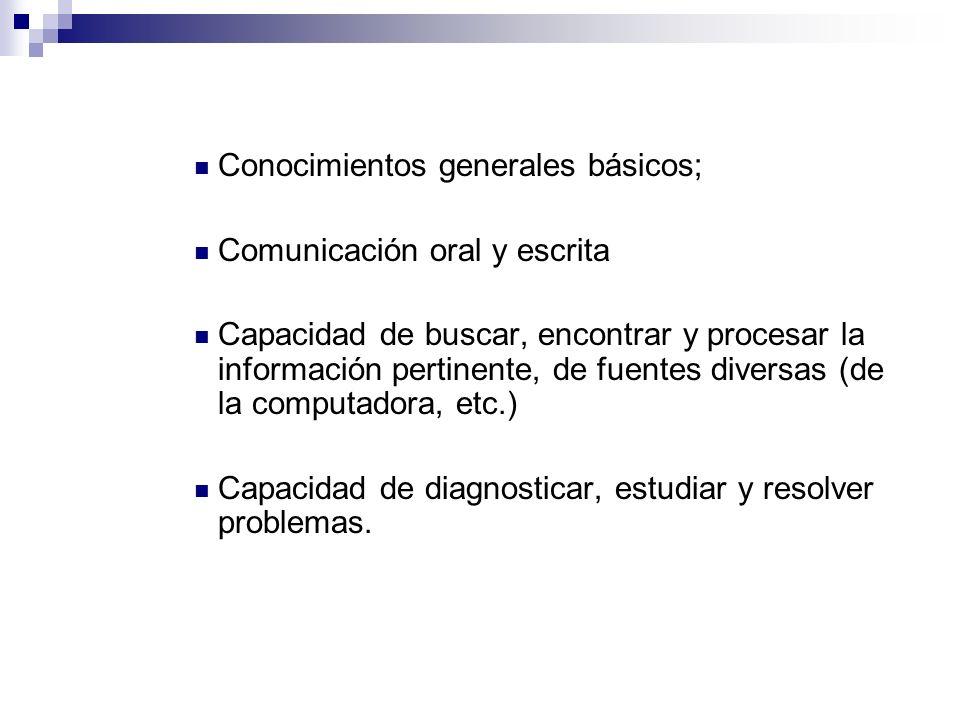 Conocimientos generales básicos; Comunicación oral y escrita Capacidad de buscar, encontrar y procesar la información pertinente, de fuentes diversas