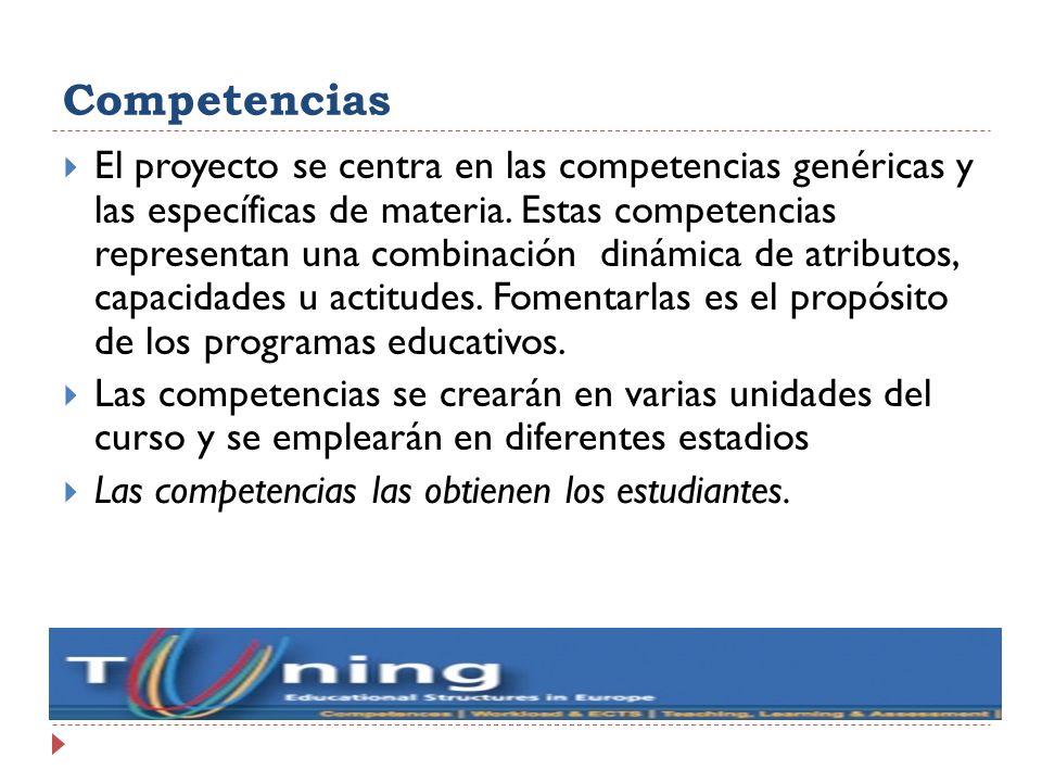 Competencias El proyecto se centra en las competencias genéricas y las específicas de materia. Estas competencias representan una combinación dinámica