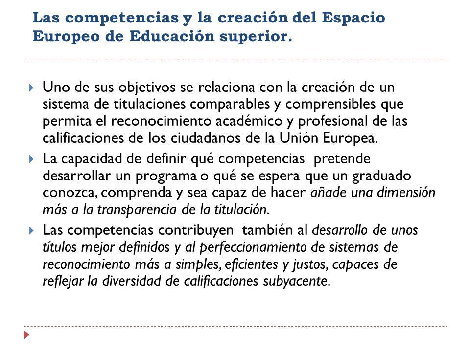 Las competencias y la creación del Espacio Europeo de Educación superior. Uno de sus objetivos se relaciona con la creación de un sistema de titulacio