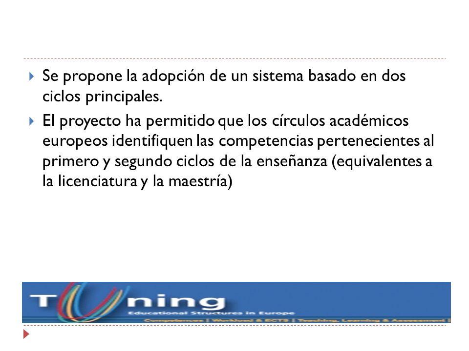 Se propone la adopción de un sistema basado en dos ciclos principales. El proyecto ha permitido que los círculos académicos europeos identifiquen las