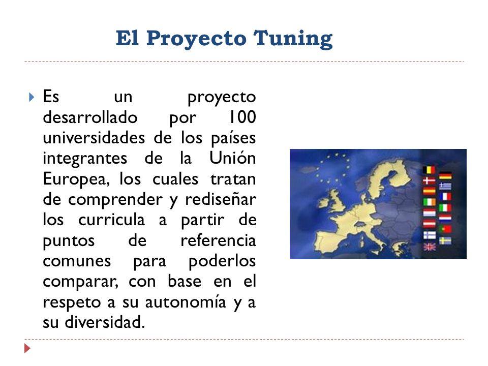 El Proyecto Tuning Es un proyecto desarrollado por 100 universidades de los países integrantes de la Unión Europea, los cuales tratan de comprender y