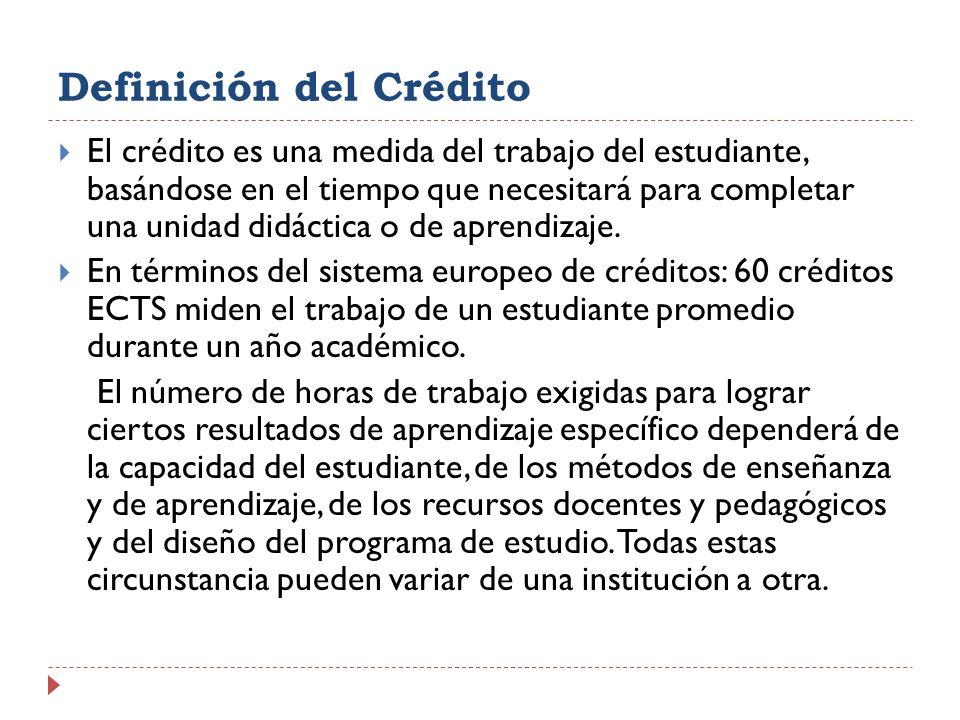 Definición del Crédito El crédito es una medida del trabajo del estudiante, basándose en el tiempo que necesitará para completar una unidad didáctica