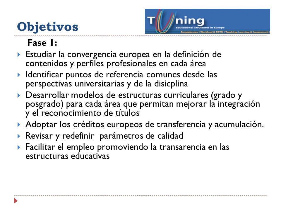 Líneas del proyecto Tuning Línea 1: definición de competencias académicas generales en todas las titulaciones ( formaciones) Línea 2: definición de competencias específicas en cada titulación ( conocimientos y destrezas- knowledge & skills Línea 3: Utilización del sistema europeo de créditos( ECTS) como estrategia de acumulación y transferencia Línea 4: métodos de enseñanza, aprendizaje y evaluación