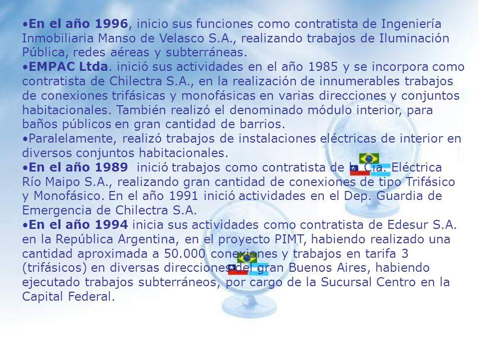 VIPAC Ltda., desde el año 1984 hasta el año 1993 se desempeño como contratista de Chilectra Metropolitana S.A.